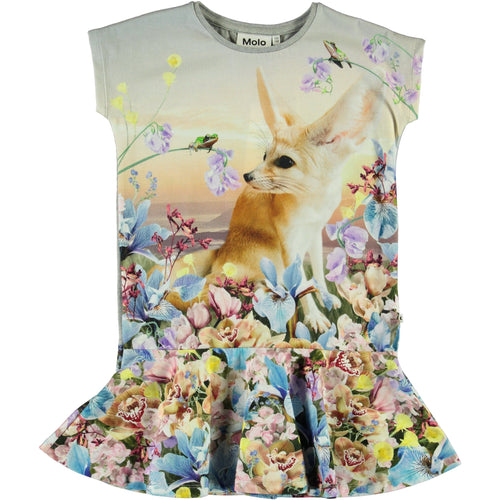 Molo short sleeve fox jersey girls dress