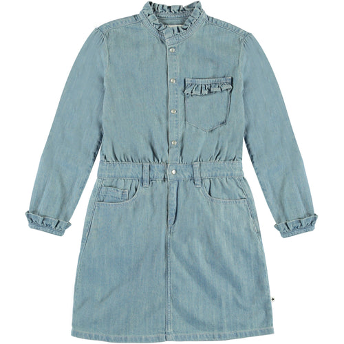 Molo light blue denim long sleeve girls dress