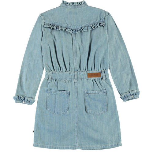Molo light blue chambray long sleeve girls dress