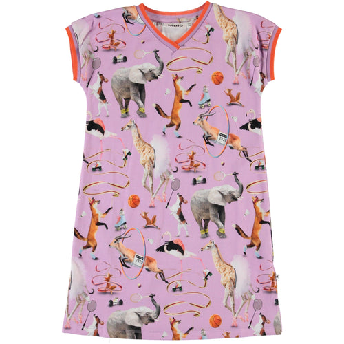 Molo purple animal short sleeve girls dress