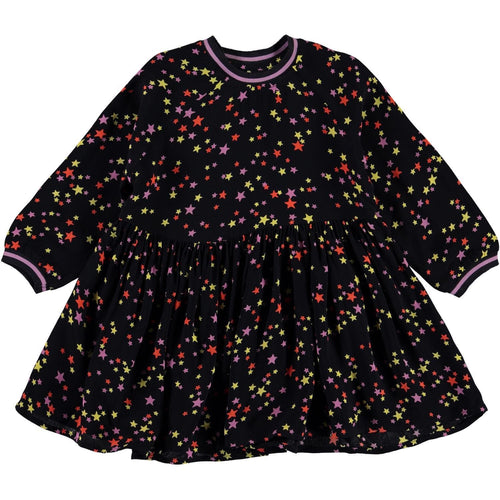 Molo black long sleeve star print baby girl dress