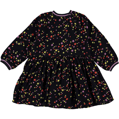 Molo black long sleeve star print dress for baby girl