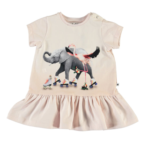 Molo peach short sleeve roller skate animal baby girl dress