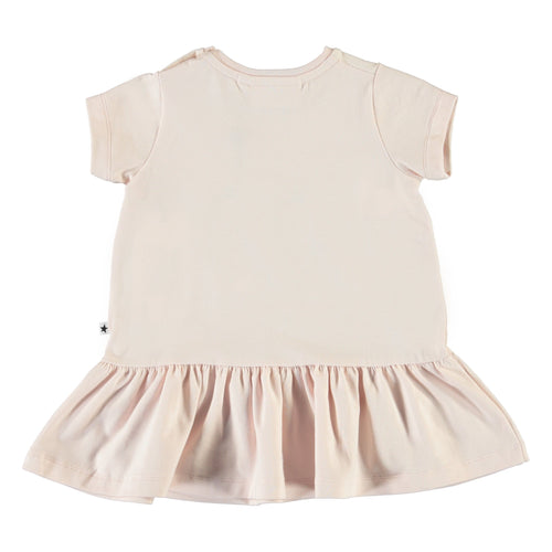 Molo peach short sleeve roller skate animal dress for baby girl