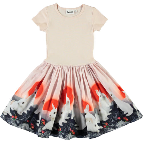 Molo short sleeve bunny print girls party dress