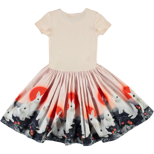 Molo short sleeve bunny print party dress for girls