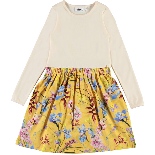 Molo long sleeve yellow floral dress for girls