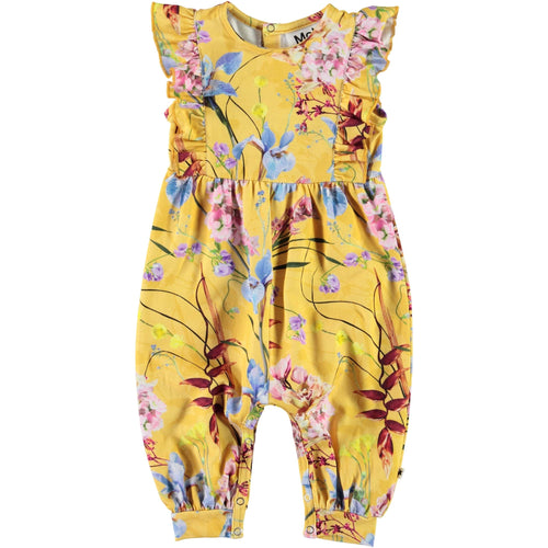 Molo yellow floral sleeveless baby girl romper