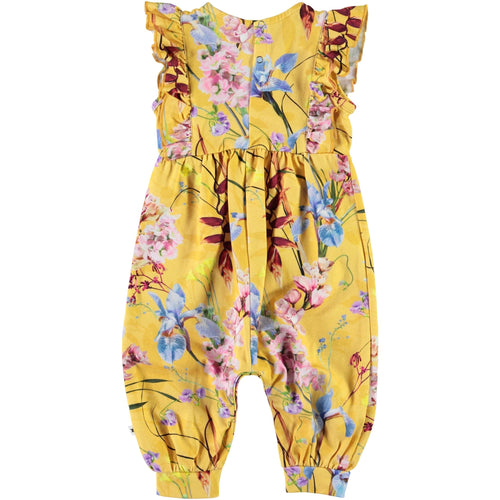Molo yellow floral sleeveless baby girl jumpsuit