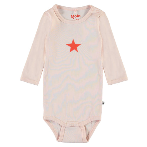 Molo peach long sleeve baby girl onesie