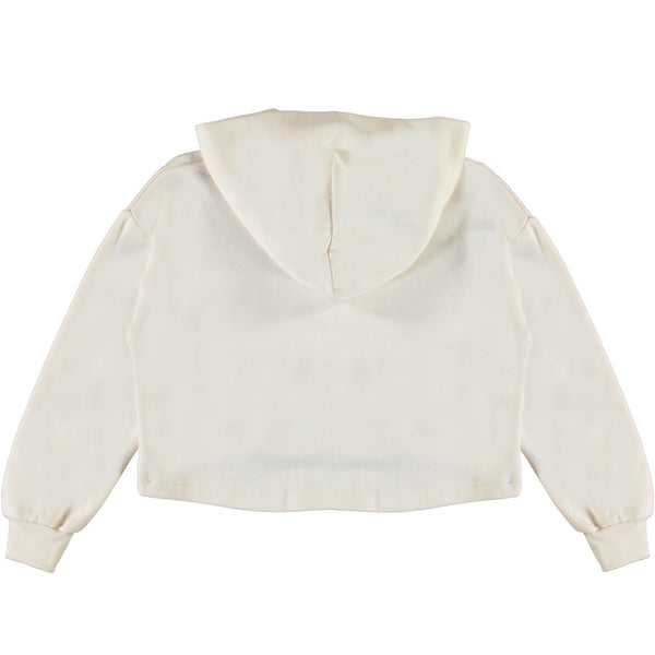 Molo white floral cropped girls hooded t shirt