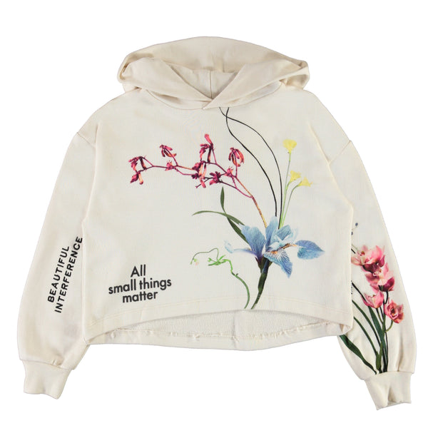 Molo white floral cropped girls hoodie