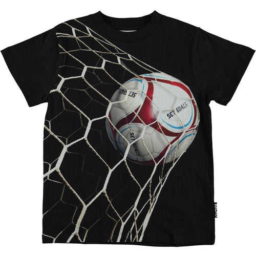 Molo black short sleeve soccer goal boys t shirt