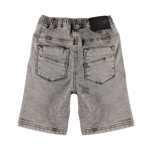 Molo grey drawstring boys stonewash denim shorts