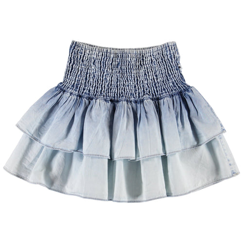 Molo bleached denim tiered girls skirt
