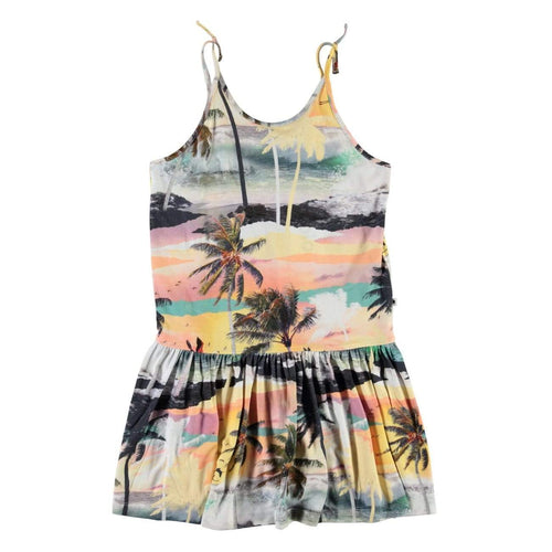 Molo island print girls dress with spaghetti straps