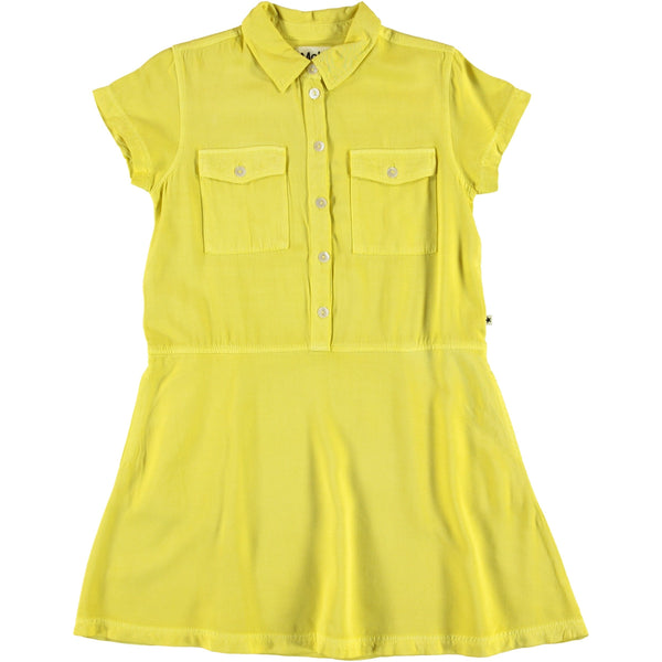 Molo yellow short sleeve button girls dress
