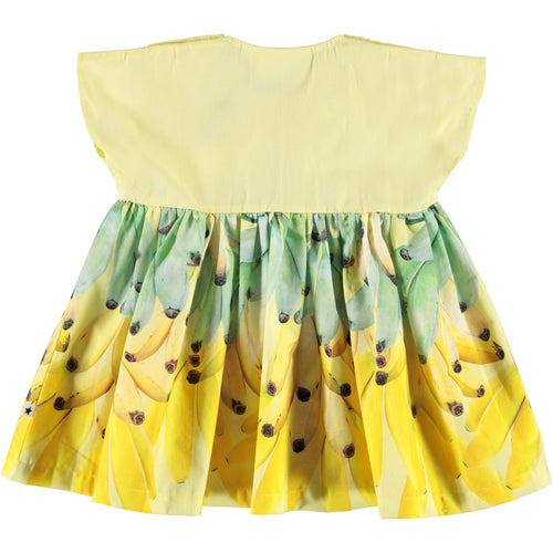 Molo yellow short sleeve banana print baby girl dress