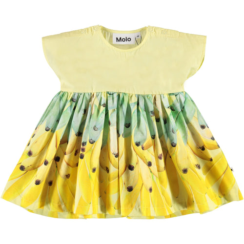 Molo yellow short sleeve banana baby girl dress