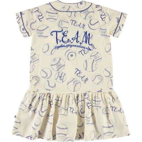 Molo baseball print short sleeve girls dress