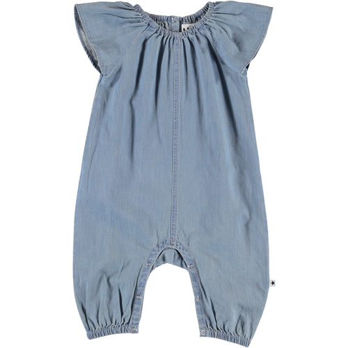 Molo light blue chambray baby girl romper