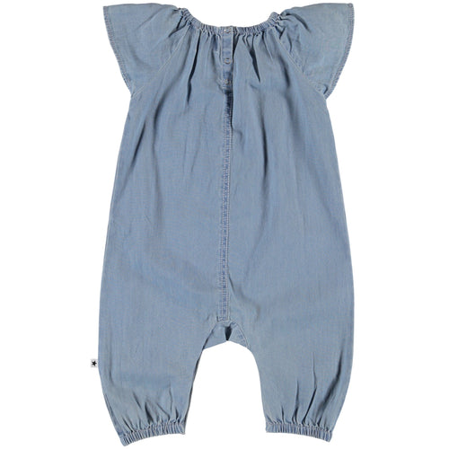 Molo light blue chambray baby girl jumpsuit