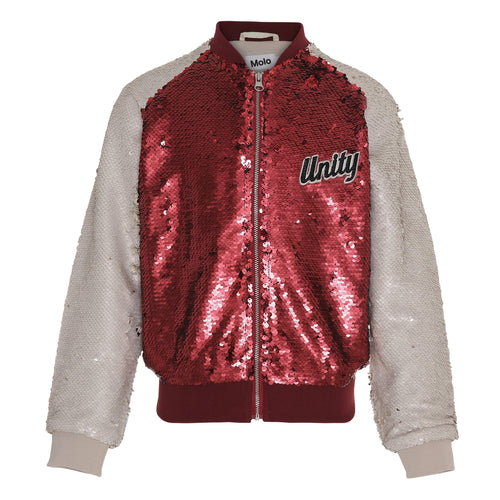 Molo red sequin baseball girls jacket