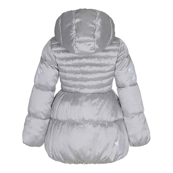 Silver girls coat with hood + down quilting