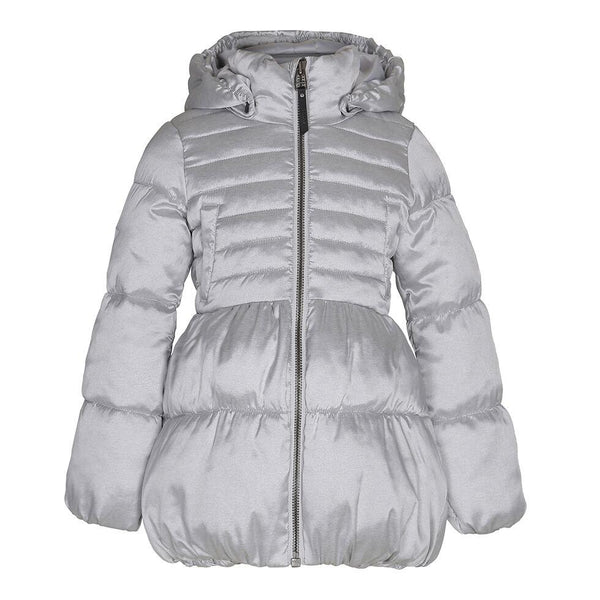 Silver quilted down girls coat with hood