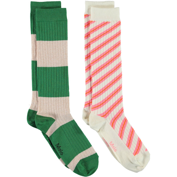 Molo pink and green stripe girls knee socks