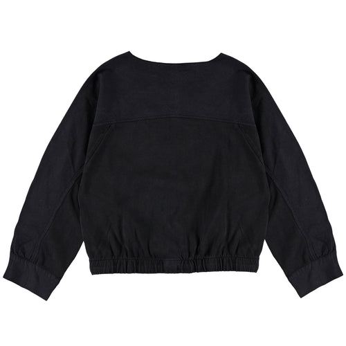 Molo black long sleeve cropped girls tee