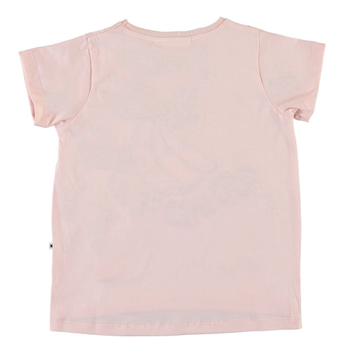 Molo light pink short sleeve banana girls graphic t-shirt