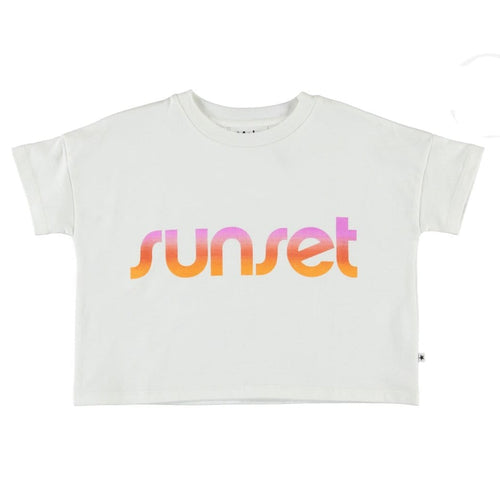 Molo white short sleeve sunset girls graphic t shirt