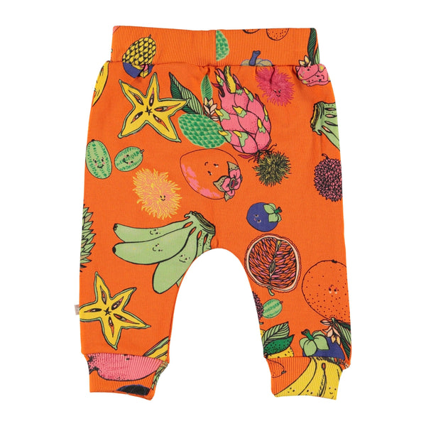 Molo orange fruit print baby girl pants