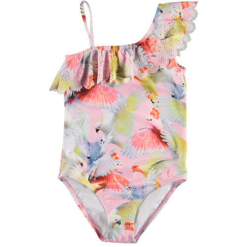 Molo pastel bird print one piece girls swimsuit