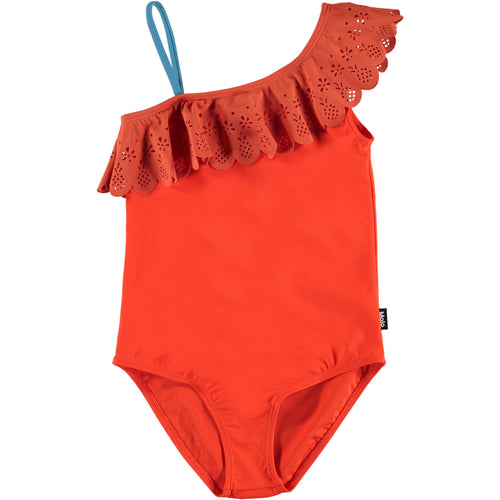 Molo one shoulder coral one piece girls swimsuit