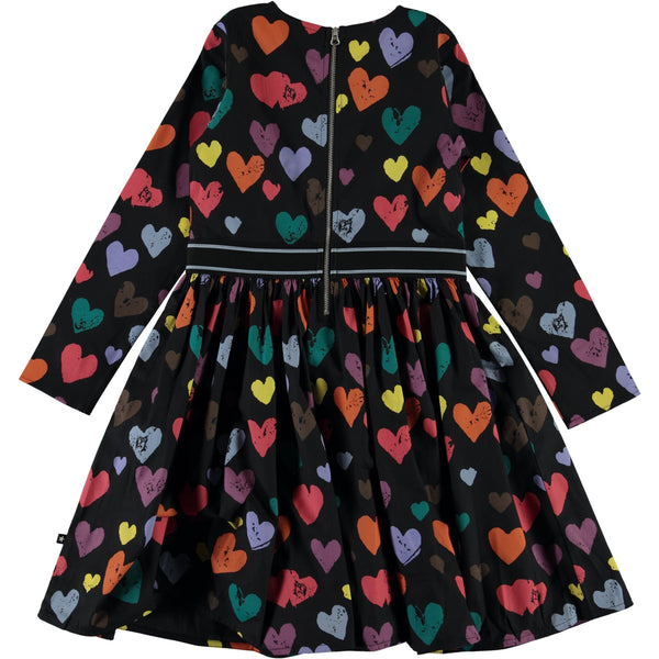 Molo colorful heart long sleeve girls dress