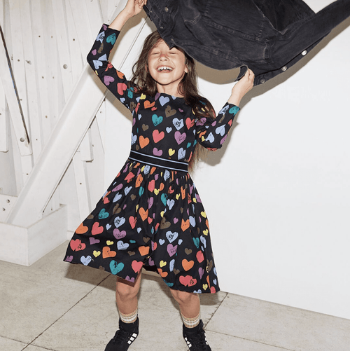 Molo black colorful heart girls dress