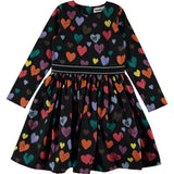 Molo black colorful heart long sleeve girls dress