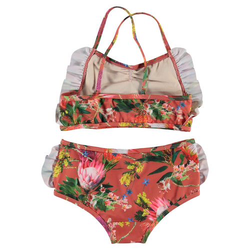 Molo tropical flower print girls two piece swimsuit