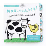 Moo, Cluck, Baa board book cover with cow and chicken