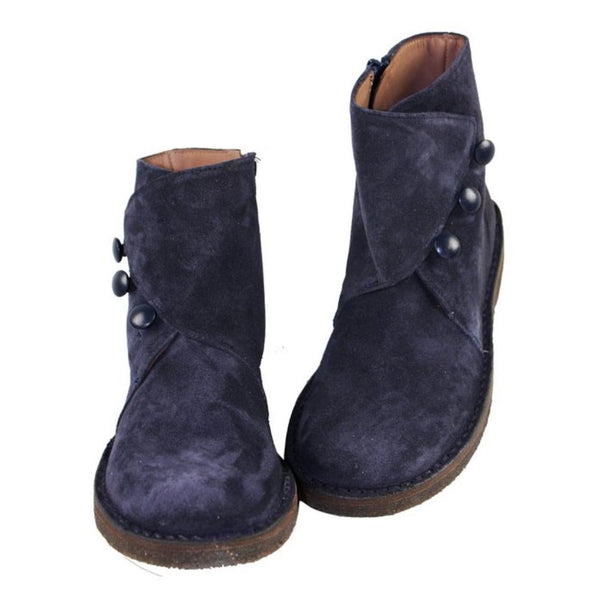 Navy suede girls ankle boots with buttons