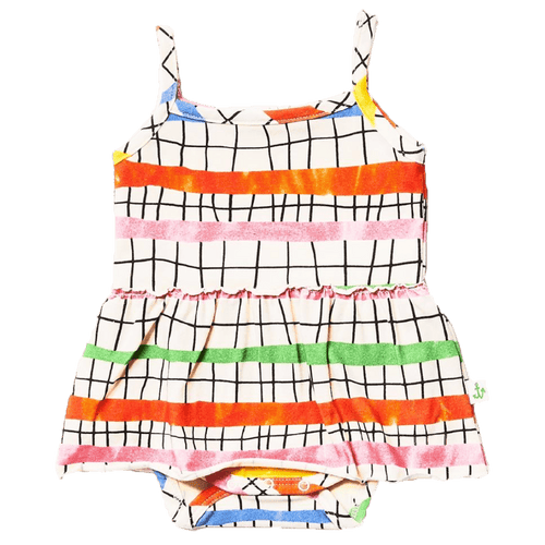 Noe and zoe colorful geometric skirted baby girl romper