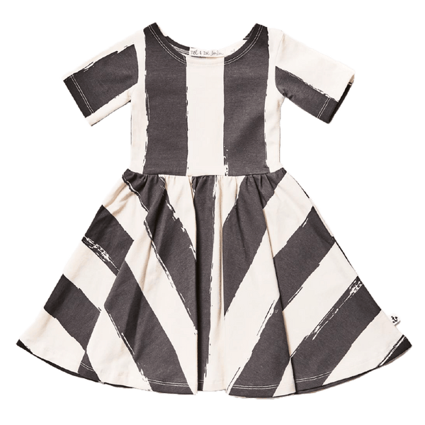 Noe and Zoe black and white stripe girls twirl dress