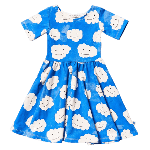 Noe & Zoe Blue Clouds Twirl Girls Dress