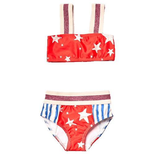 Noe and zoe red star and blue stripe girls bikini swimsuit