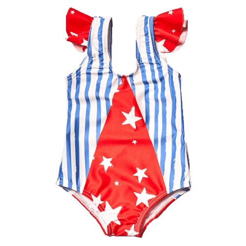 Noe and zoe red white and blue baby girl swimsuit