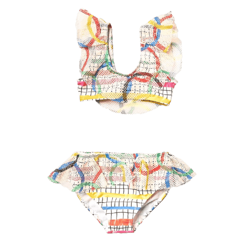 Noe and zoe colorful geometric girls ruffle bikini swimsuit