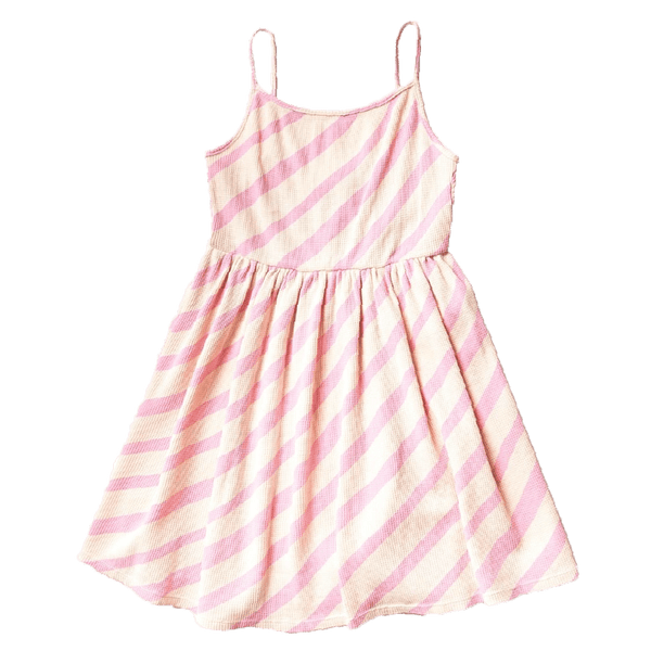 Noe and zoe pink stripe sleeveless twirl girls dress
