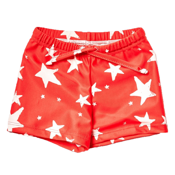 Noe and zoe red star baby boy swim trunks